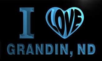 Dakota AdvPro Name v62626-b I Love GRANDIN, ND NORTH City Limit Neon Light Sign