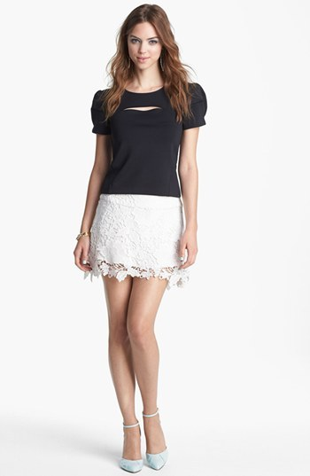 WAYF Embroidered Lace Skirt
