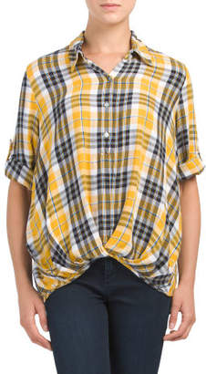 Plaid Tuck Front Roll Tab Top