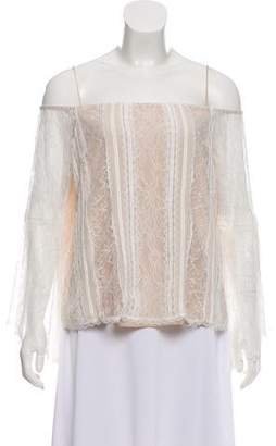 Alice + Olivia Lace Off-The-Shoulder Blouse