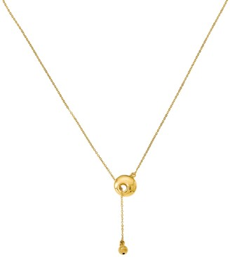 Italian Gold Circle & Bead Toggle Necklace, 14K