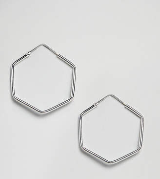 Kingsley Ryan Sterling Silver Hexagon Hoop Earrings