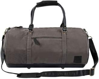 MAHI Leather - Gym Duffle in Grey Canvas and Black Leather