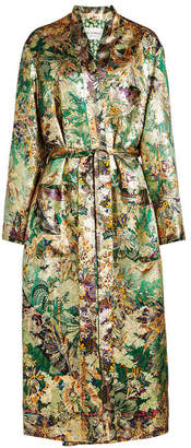 Etro Printed Satin Coat with Silk and Metallic Thread
