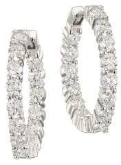 Roberto Coin Diamond and 18K White Gold Inside-Out Hoop Earrings