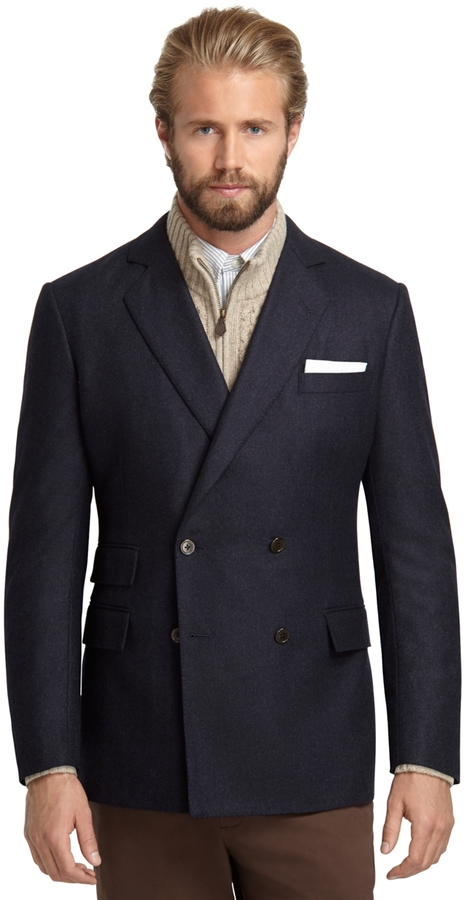 Brooks Brothers Regent Fit Double-Breasted Flannel Sport Coat