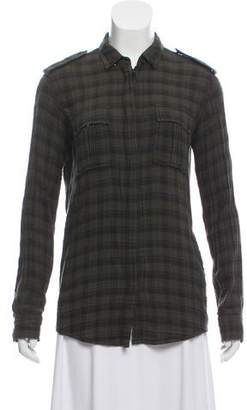 Balmain Long Sleeve PLaid Button-Up Top