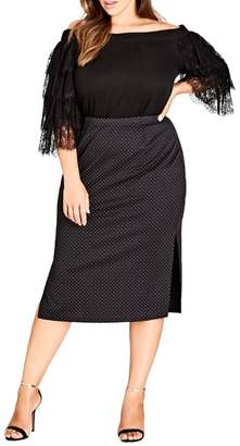 City Chic Spotty Dotty Pencil Skirt
