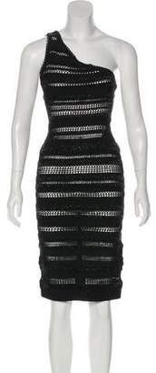 Herve Leger Embellished One-Shoulder Dress w/ Tags