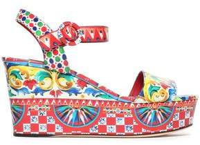 Dolce & Gabbana Printed Glossed-Leather Wedge Sandals