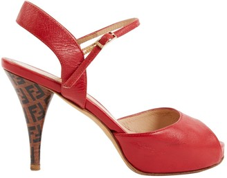 Fendi Vintage Red Leather Sandals