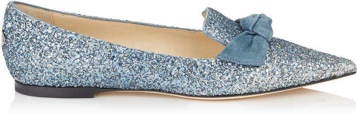 GABIE FLAT Silver Fireball Glitter Dégradé Fabric and Dusk Blue Suede Pointy Toe Flats