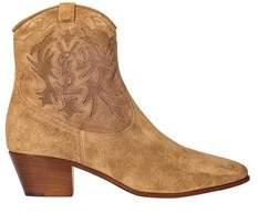 Saint Laurent Women's Brown Suede Ankle Boots.
