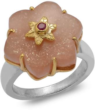 Sylvie Emma Chapman Jewels Peach Moonstone Ruby Ring