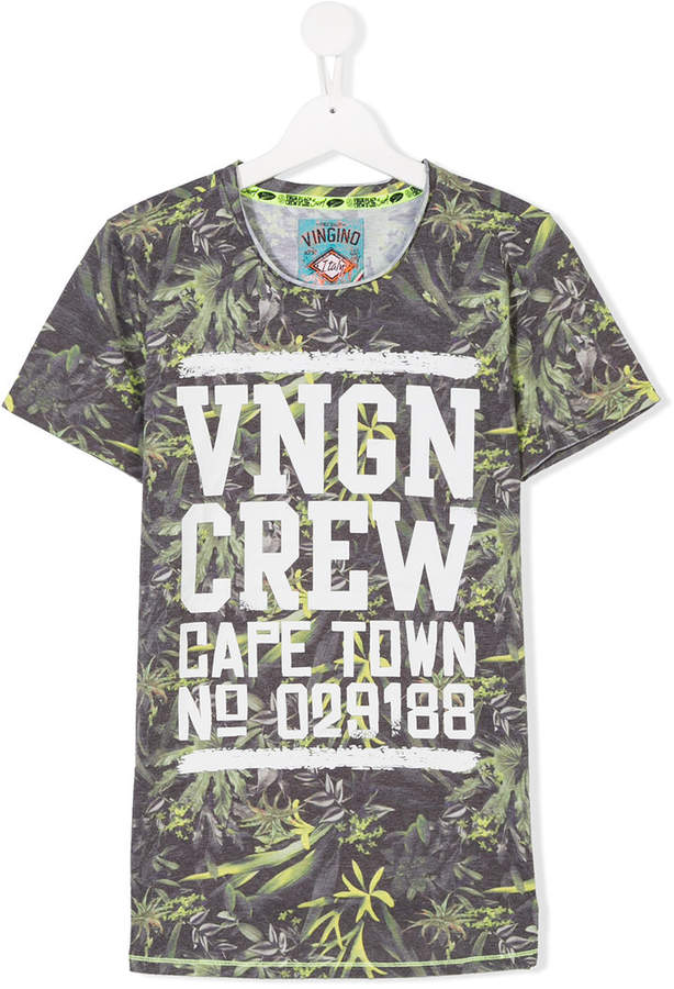 TEEN leaf print T-shirt