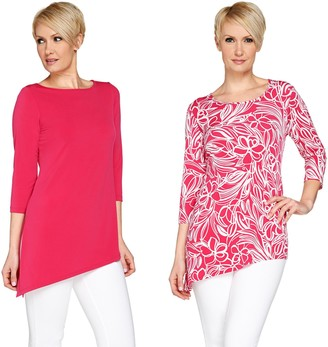 Susan Graver Print & Solid Set of 2 Liquid Knit Tops