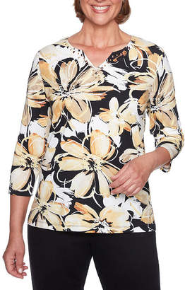 Alfred Dunner Travel Light 3/4 Sleeve Split Crew Neck Floral T-Shirt-Womens