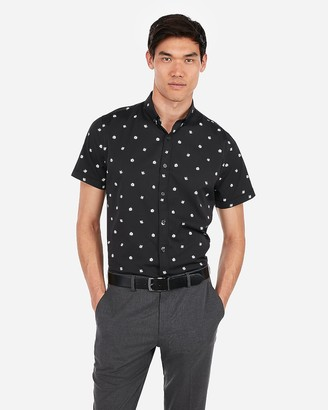 Express Slim Floral Wrinkle-Resistant Performance Short Sleeve Shirt