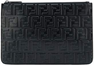 Fendi embossed logo clutch bag