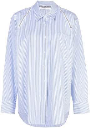 Alexander Wang Alexanderwang alexanderwang striped shirt with zippered shoulders