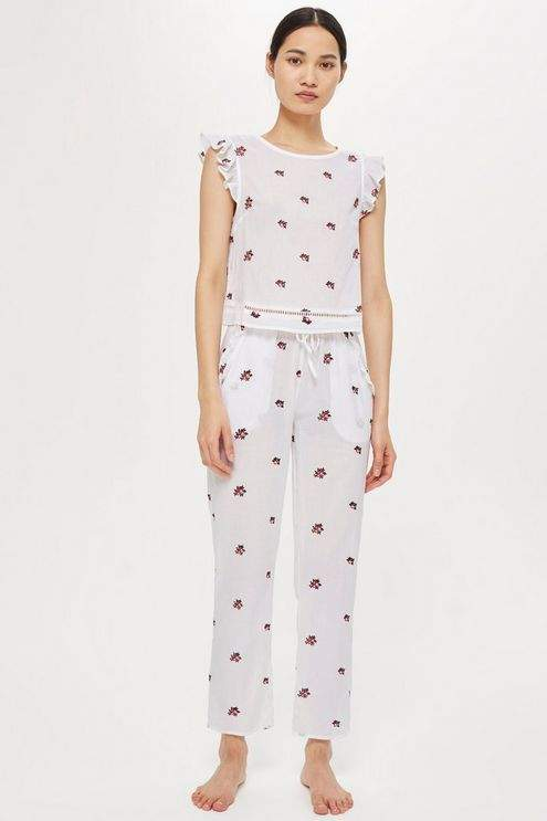 All over embroidered trousers