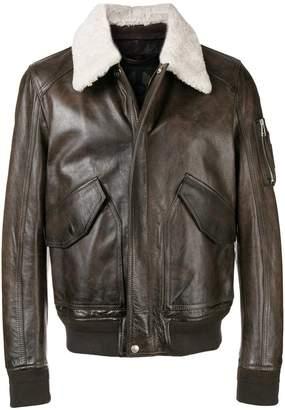 Belstaff contrast-collar biker jacket