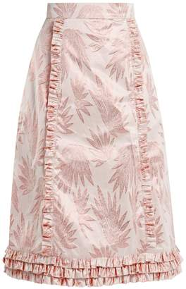 THE VAMPIRE'S WIFE Cate leaf-jacquard ruffle-trimmed skirt