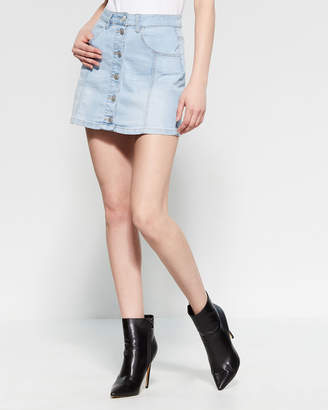 Almost Famous Button-Front Denim Mini Skirt