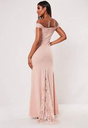 Missguided Bridesmaid Blush Lace Bardot Fishtail Maxi Dress, Pink