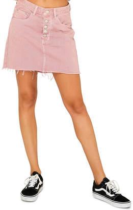 Glamorous Raw Hem Pink Denim Skirt