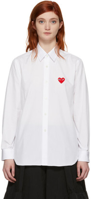 Comme des Garcons White Mens Fit Heart Patch Shirt