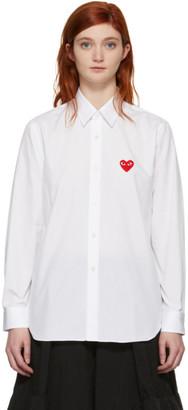 Comme des Garcons White Mens Fit Heart Patch Shirt