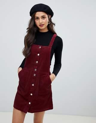 Miss Selfridge cord pinny dress in burgundy