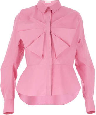 DELPOZO Pleated Bow Cotton Shirt