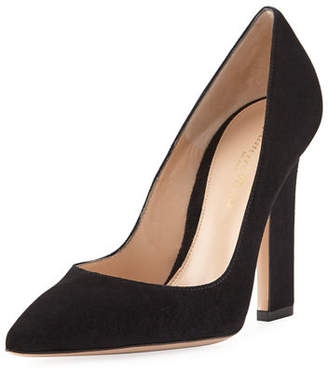 Gianvito Rossi 105mm Wide-Heel Suede Pump $675 thestylecure.com