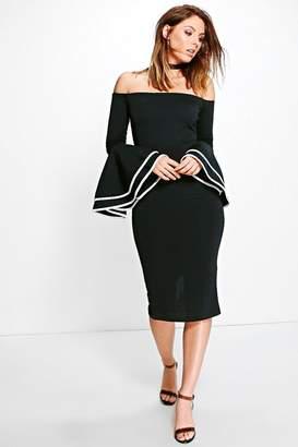 boohoo Fleur Off Shoulder Flared Sleeve Midi Dress $35 thestylecure.com