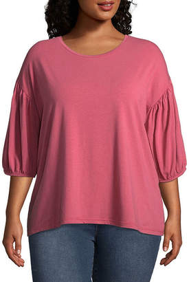 Boutique + + 3/4 Sleeve Crew Neck Knit Blouse - Plus