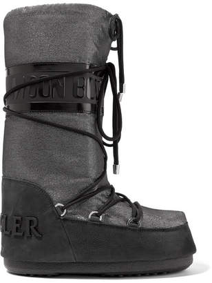 Moncler + Moon Boot Saturne Metallic Shell And Nubuck Snow Boots - Black