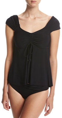 Magicsuit Piper Solid Cap-Sleeve Tankini Swim Top, Black $114 thestylecure.com