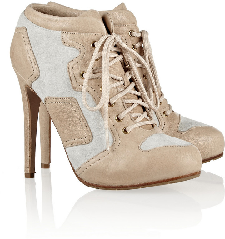 McQ Suede and leather lace-up ankle boots