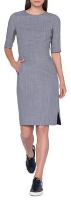 Akris Elbow-Sleeve Wool-Blend Sheath Dress w/ Side Slits