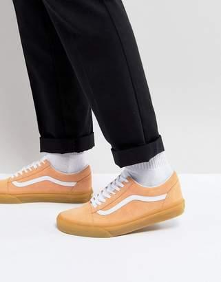 Vans Old Skool Gum Sole Sneakers In Orange