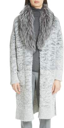 Fabiana Filippi Long Degrade Cardigan with Removable Genuine Fox Fur Collar