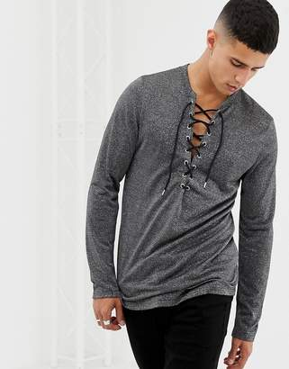 Asos Design Longline Long Sleeve T-Shirt With Deep V Neck In Silver Metallic Fabric