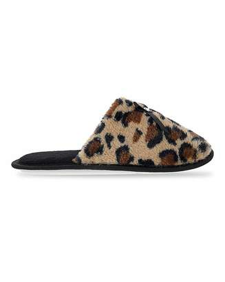 Jd Williams Leopard Print Mule Slippers EEE Fit