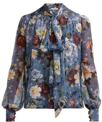 Erdem Lucien Gertrude Print Silk Voile Blouse - Womens - Blue Multi