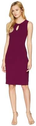 Adrianna Papell Textured Crepe Draped Neckline Sheath Dress Women's Dress