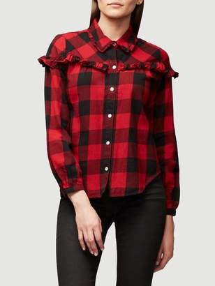 Frame Ruffle Check Button Up