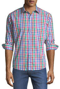 Slim-Fit Regular-Finish Multicolor Gingham Sport Shirt