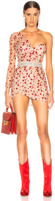 Aadnevik French Lace One Shoulder Mini Dress in Red Floral | FWRD